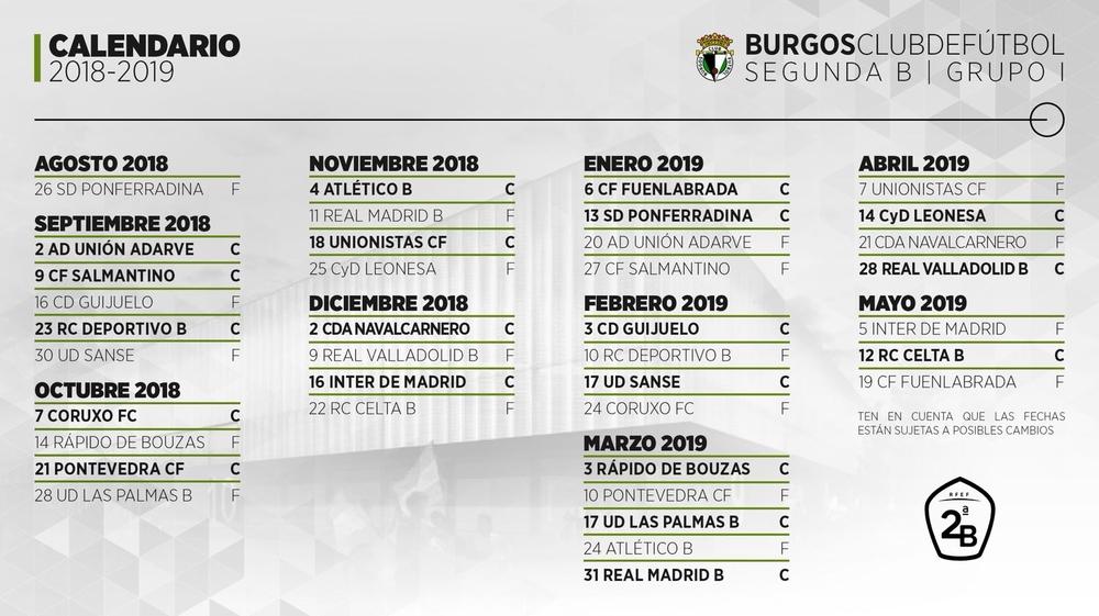 Calendario Fin De Semana 2019.El Burgos Cf 2018 2019 Debutara En El Toralin