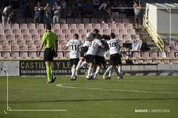 La plantilla celebra un gol logrado ante el Fabril.